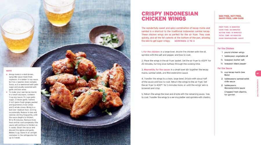 A plate of Crispy Indonesian Chicken Wings with recipe.