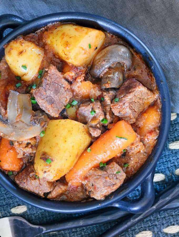 A plate of Instant Pot Beef Stew.