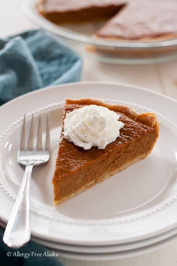 A close up of a slice of Gluten-free, Dairy-free Maple Pumpkin Pie.