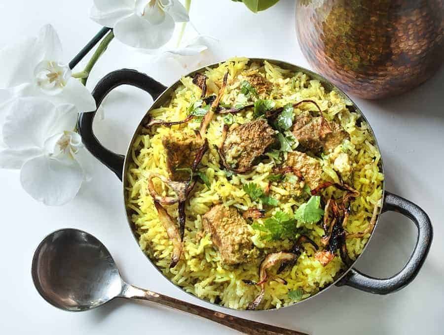 A picture of Lamb Biryani on a table.