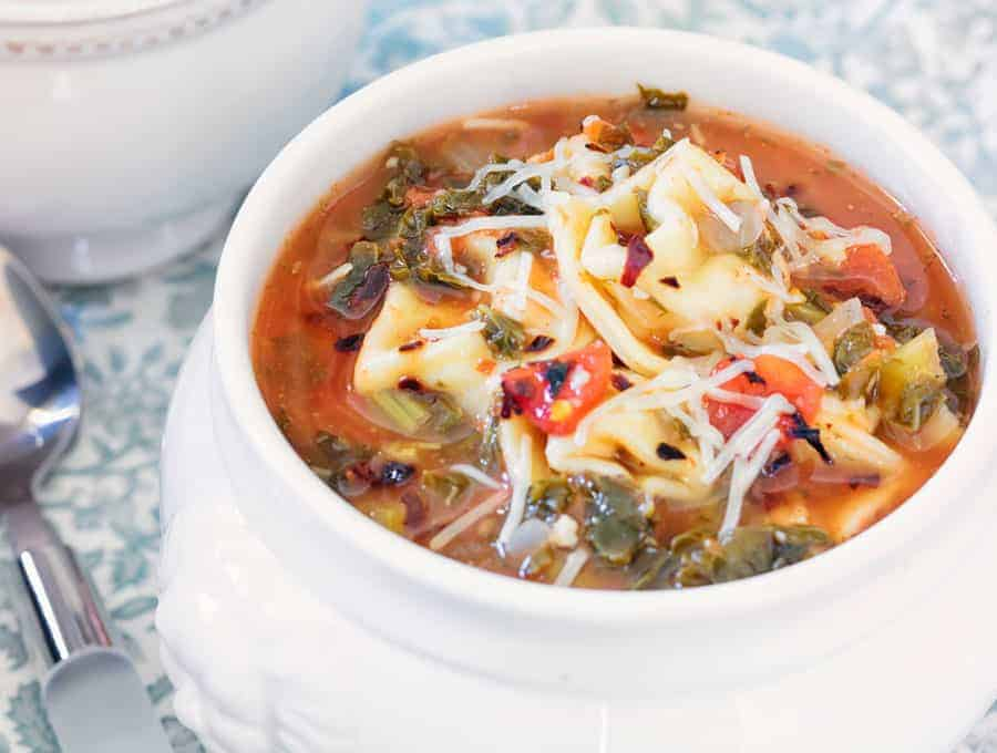 Tortellini Soup With Spinach Wide