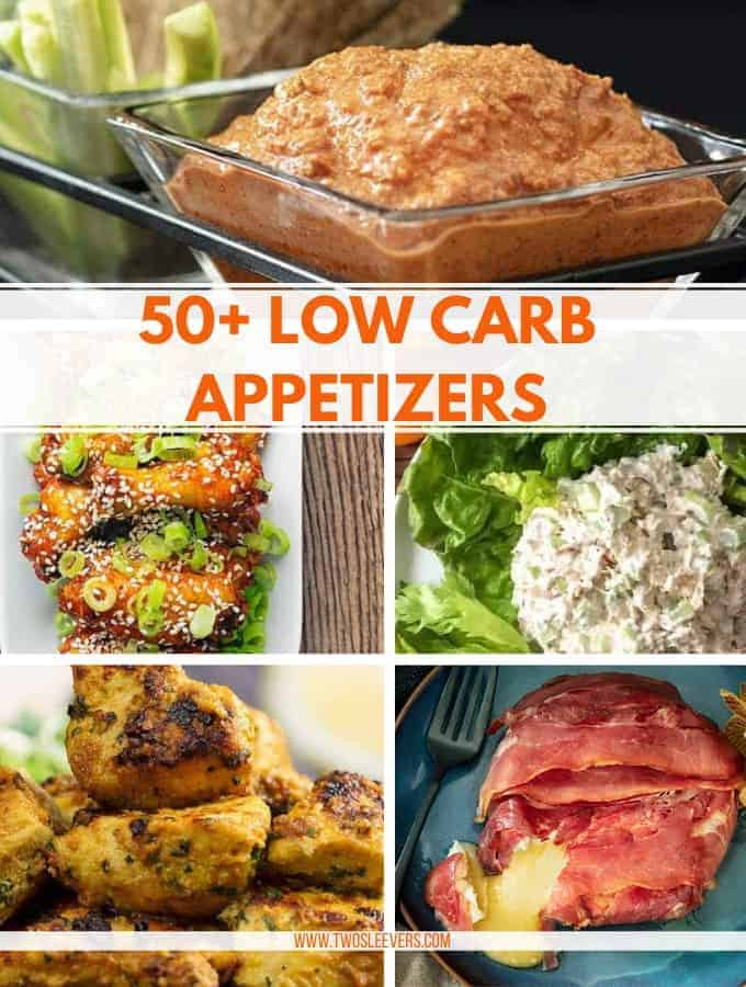 Different foods titled 50+ Low Carb Appetizers.