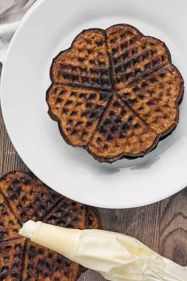 Oreo Chaffle on a plate.