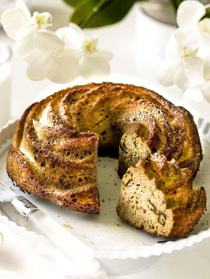 A close up of Zucchini Walnut Bread.