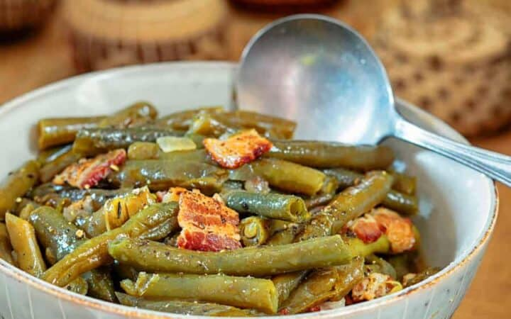 Green Beans with Bacon Wide
