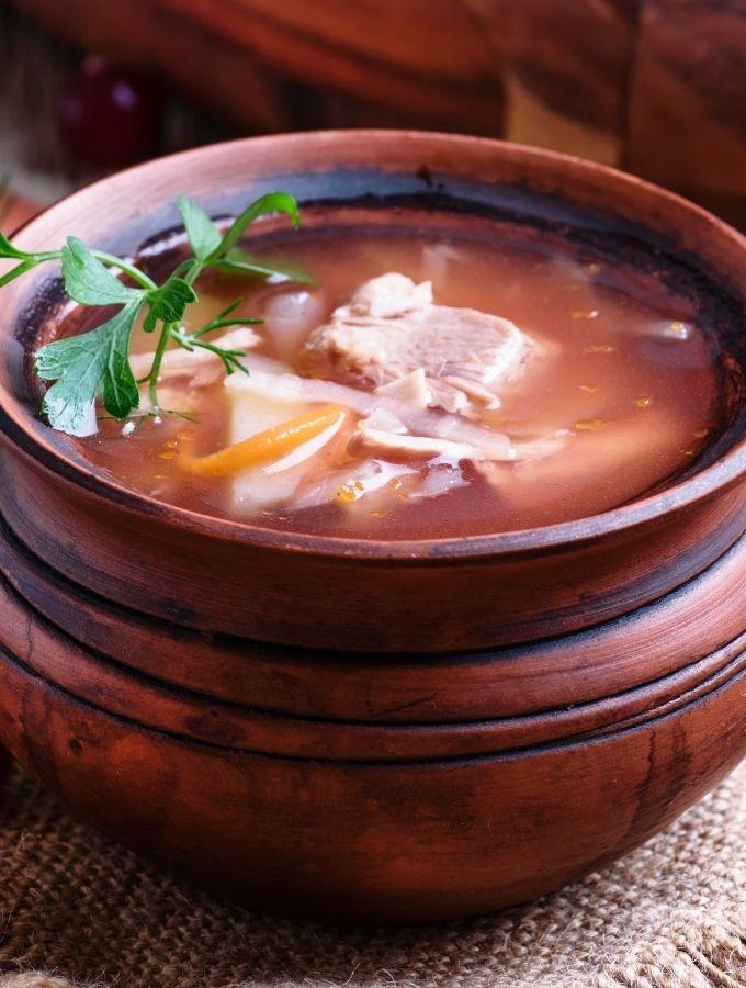 Sauerkraut  Soup in a wooden bowl