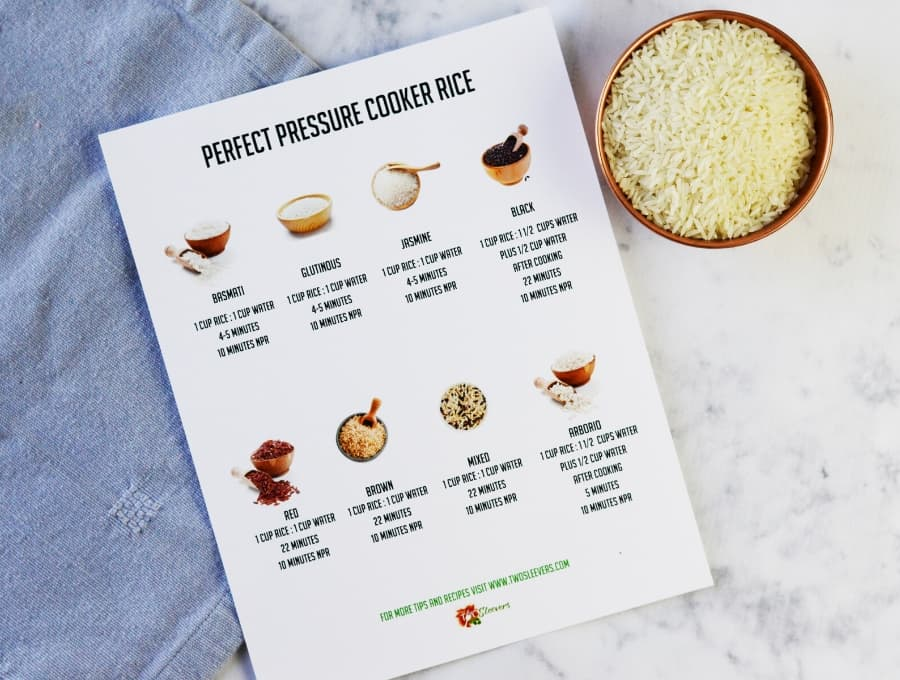 prefect pressure cooker rice cheat sheet