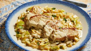 Mustard, cream and lemon make for fast and flavor-packed pork chops