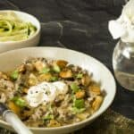 Low carb beef stroganoff in a bowl