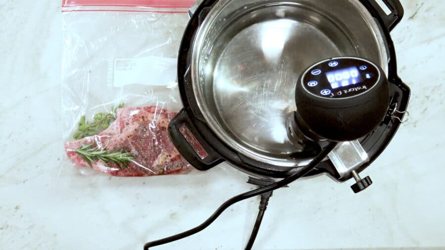 Overhead shot of the sous vide machine preheating the water.