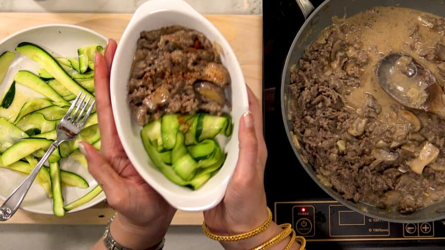 low carb beef strogan off iwth zucchini noodles in a serving dish