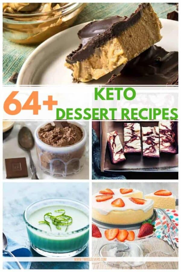 A collage of keto desserts with a title graphic at the top.