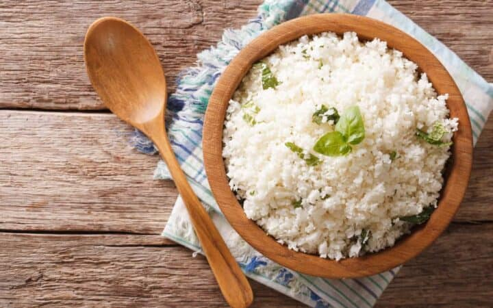 Cauliflower rice in a brown bowl