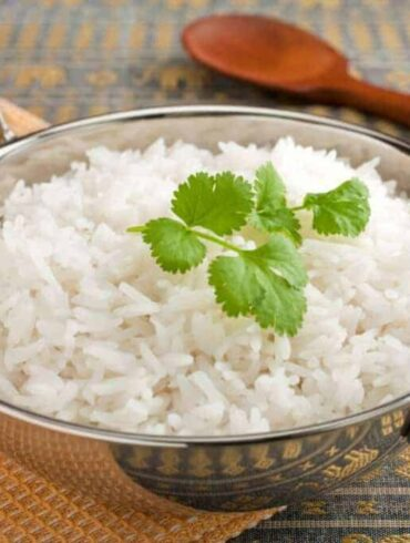 Instant Pot Basmati Rice served in a silver bowl with handles