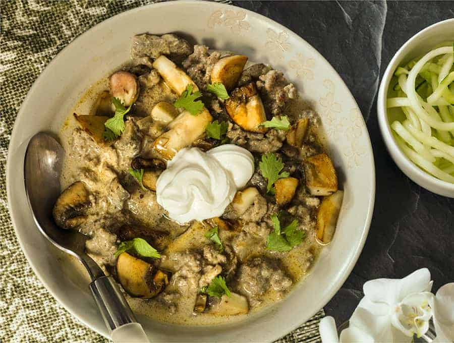 keto beef stroganoff in a bowl shot from overhead