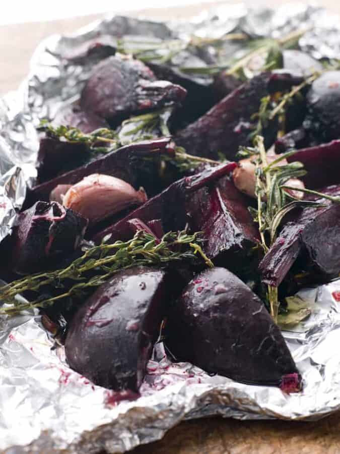 Roasted beets in foil with rosemary and garlic