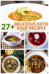 5 delicious keto soups served in white bowls