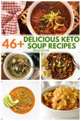 A collage of 5 different Keto Soup Recipes