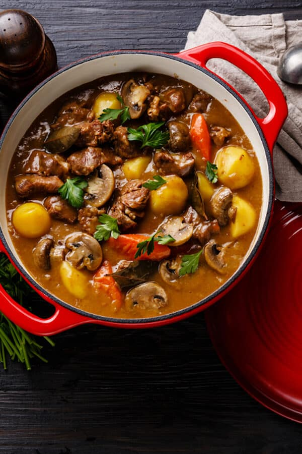 Beef daube in red pan