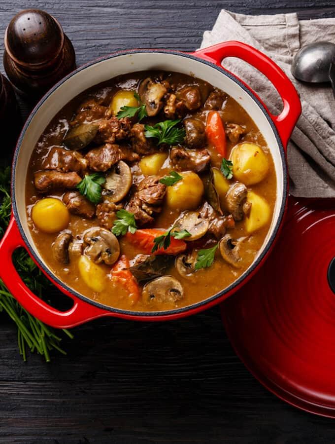 Beef daube in red pan