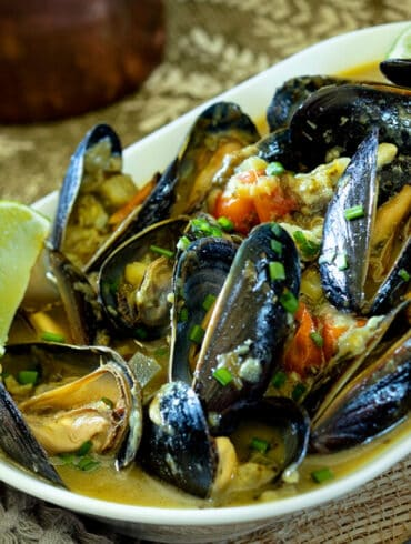 Thai Green Curry Mussels Recipe Featured Image