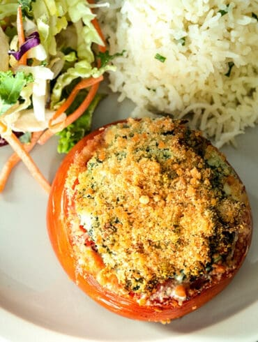 stuffed tomatoes with spinach and cheese