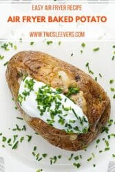 Pinterest graphic for air fryer baked potatoes