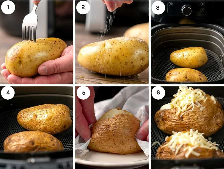 Process shots to show how to make the air fryer baked potatoes