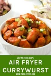 Pinterest graphic. German Currywurst with text overlay