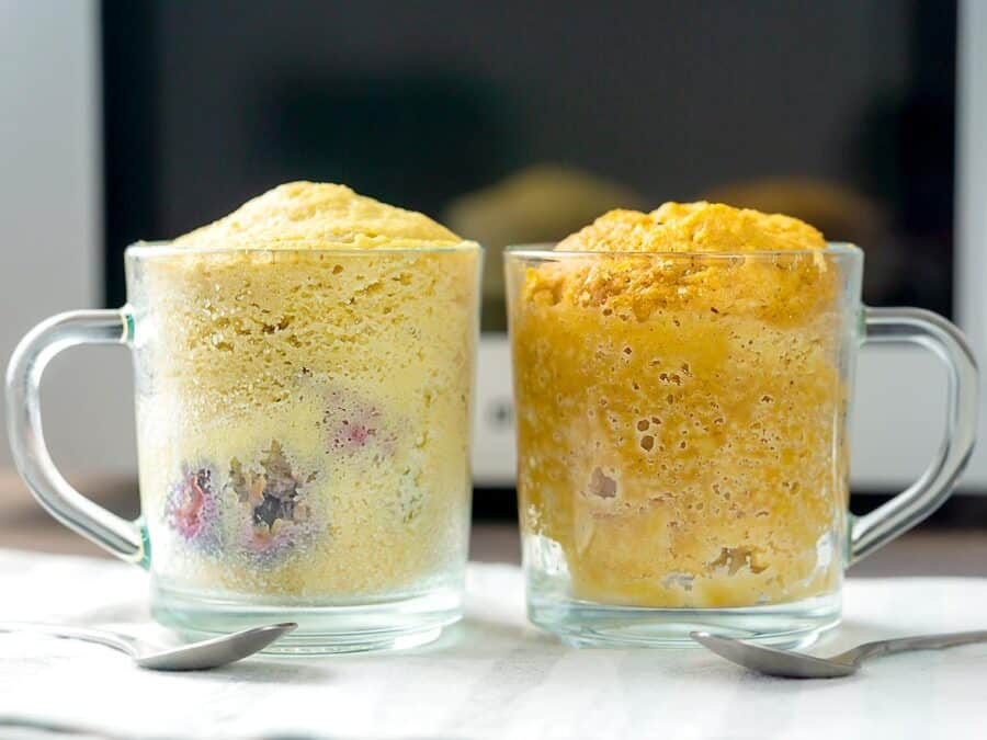 Side view of two keto mug cakes