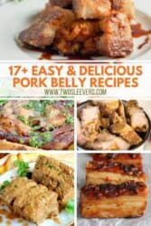 Pinterest graphic. Collage of pork belly recipes