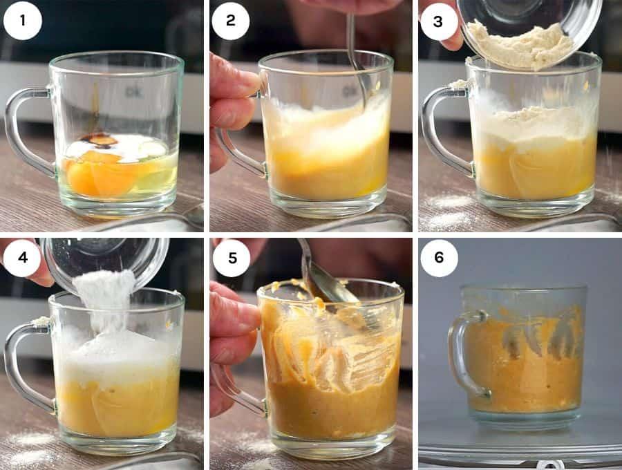 Process shots to show how to make the keto mug cakes