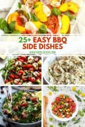 Pinterest graphic. Collage of BBQ sides