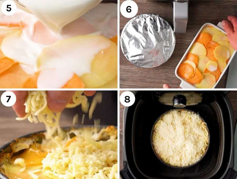 Four shots to show how to finish and cook the cheesy potatoes