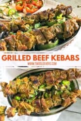 Pinterest graphic. Grilled beef kebabs