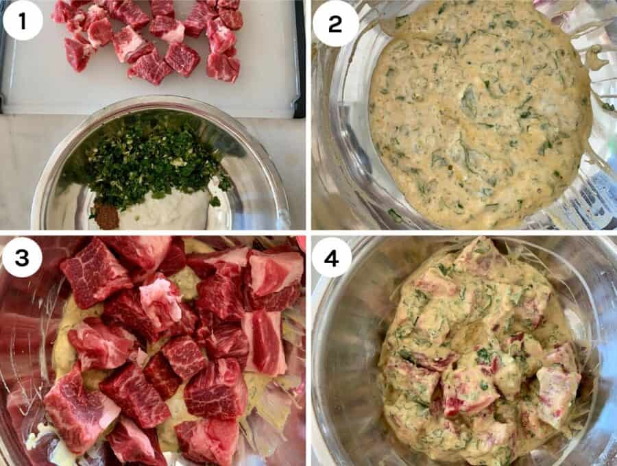 Process shots to show how to make the beef kebabs
