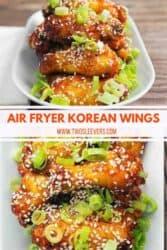 Pinterest graphic. Korean air fryer chicken
