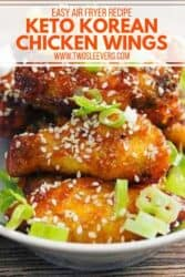 Pinterest graphic. Korean air fryer chicken