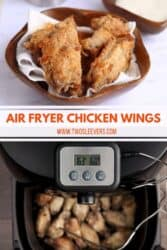 Pinterest image. Air fryer breaded chicken wings