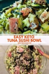 Pinterest graphic. Keto sushi bowl