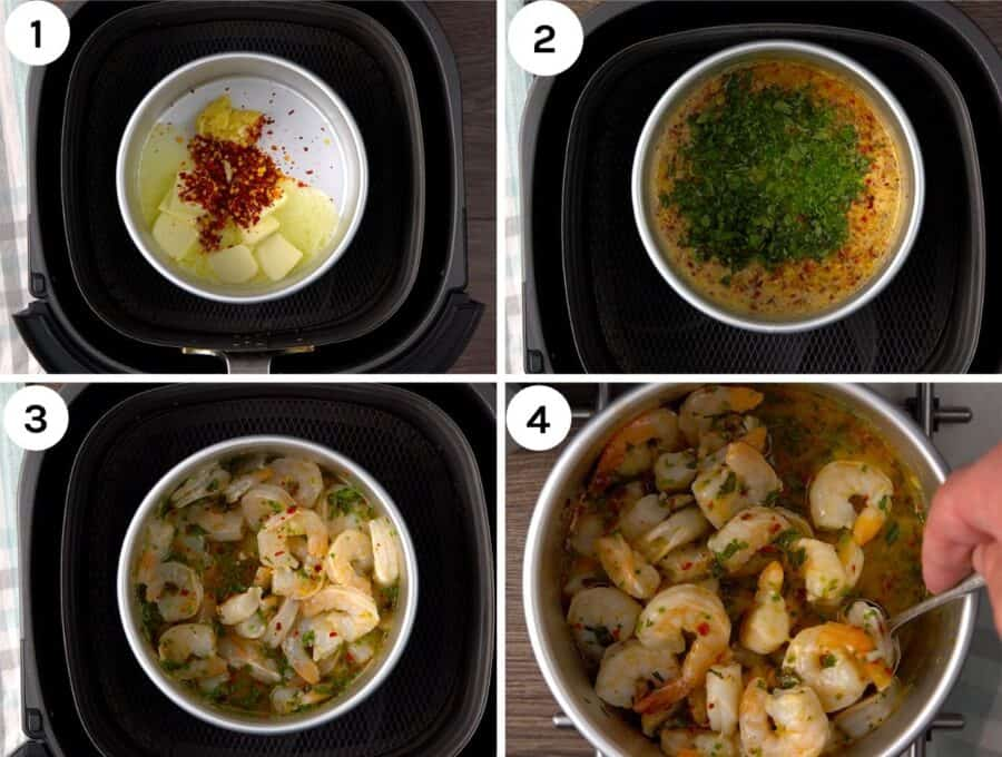 Four step by step shots to show how to make shrimp scampi