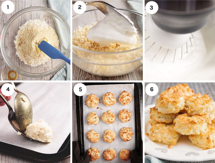 Images of step by step instructions on how to make keto coconut macaroons.