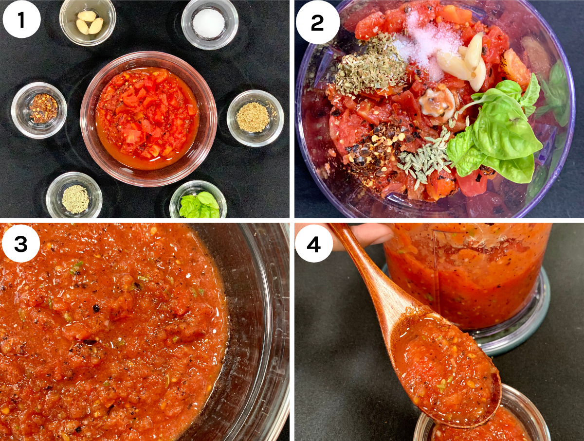 Step by Step instructions on how to make low carb pizza sauce.