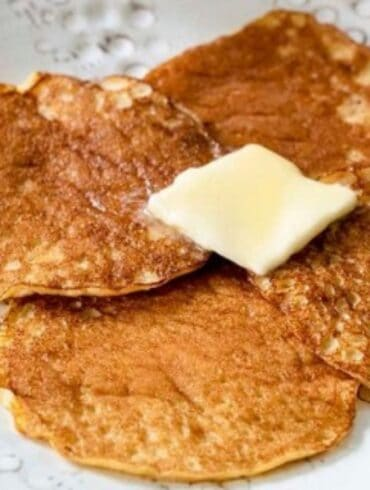 Keto Pancakes with a slab of butter on top