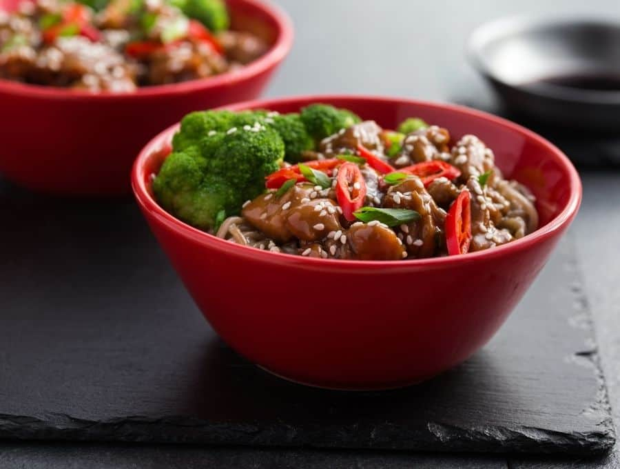 Teriyaki Chicken Bowl served over low carb noodles with veggies.