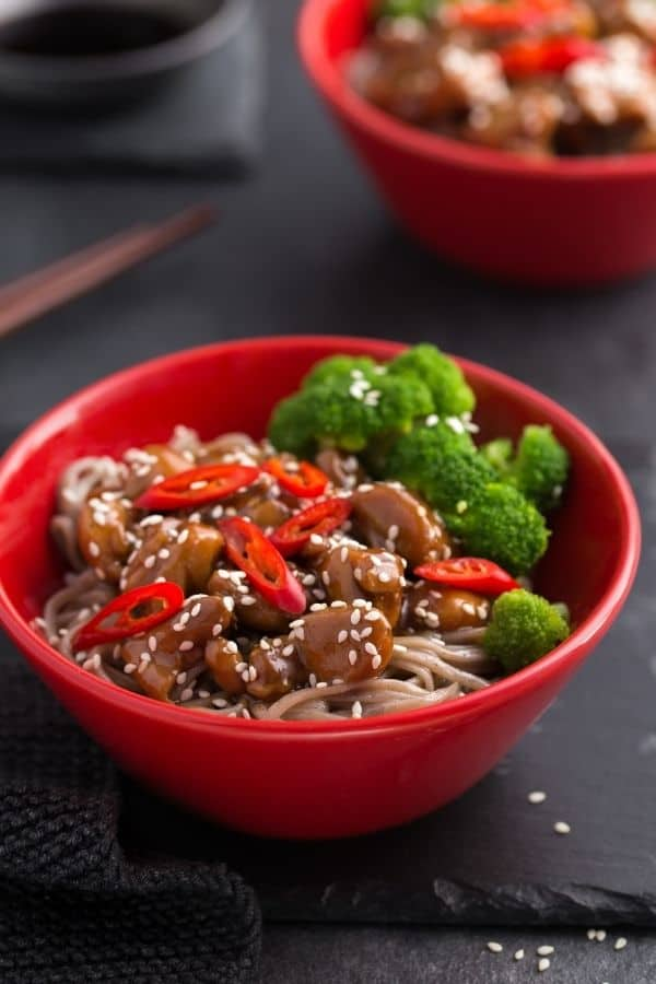 Teriyaki Chicken Bowl over low carb noodles served with veggies.