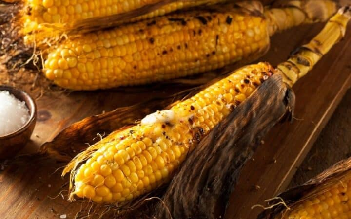Air Fryer Corn on the Cob on a Wooden Counter