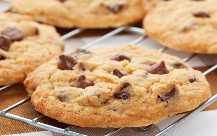 Air Fryer Chocolate Chip Cookies on a cooling rack
